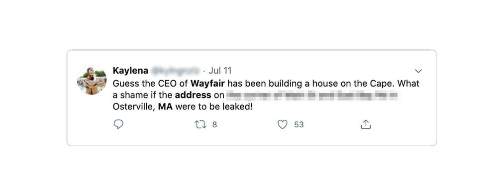 Wayfair CEO address is posted publicly